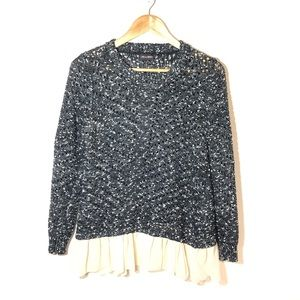 LOVE & LIBERTY Open Knit Ruffled Sweater Size M